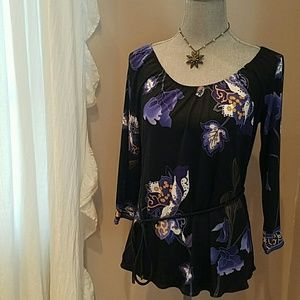 Elie Tahari 100% Silk Black Floral Blouse